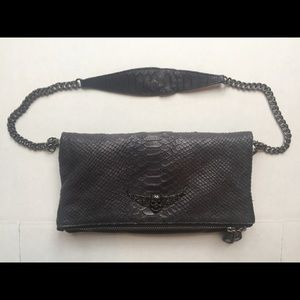 Rock Black Leather Clutch ZADIG & VOLTAIRE